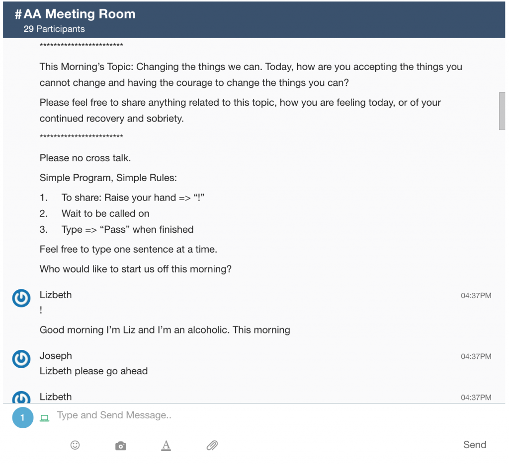 AA Meeting Chatroom